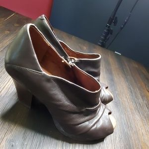 Naya brown peep toe booties with wooden heels 6.5